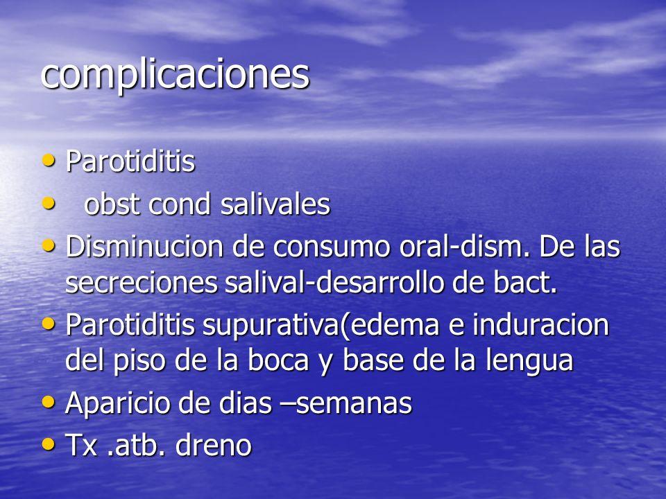complicaciones Parotiditis obst cond salivales