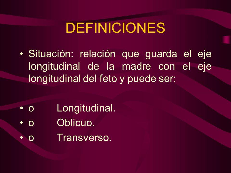 DEFINICIONES Situación: relación que guarda el eje longitudinal de la madre con el eje longitudinal del feto y puede ser: