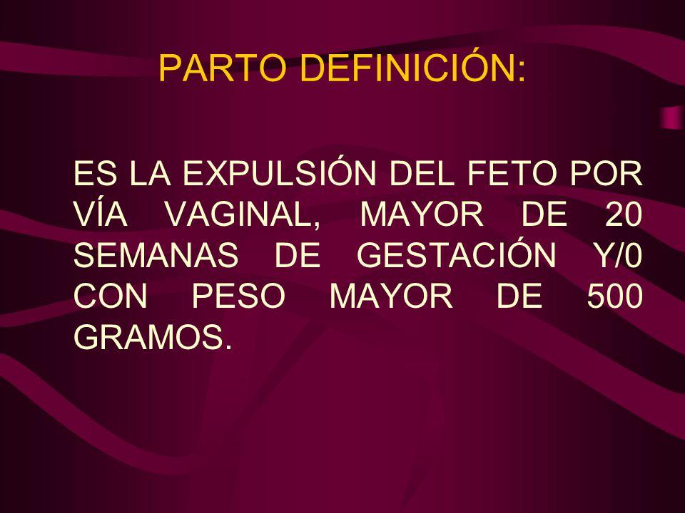 PARTO DEFINICIÓN:ES LA EXPULSIÓN DEL FETO POR VÍA VAGINAL, MAYOR DE 20 SEMANAS DE GESTACIÓN Y/0 CON PESO MAYOR DE 500 GRAMOS.