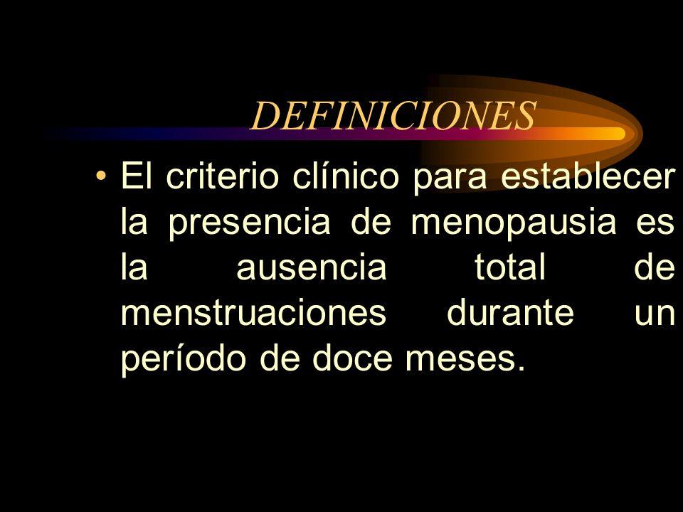 DEFINICIONESEl criterio clínico para establecer la presencia de menopausia es la ausencia total de menstruaciones durante un período de doce meses.