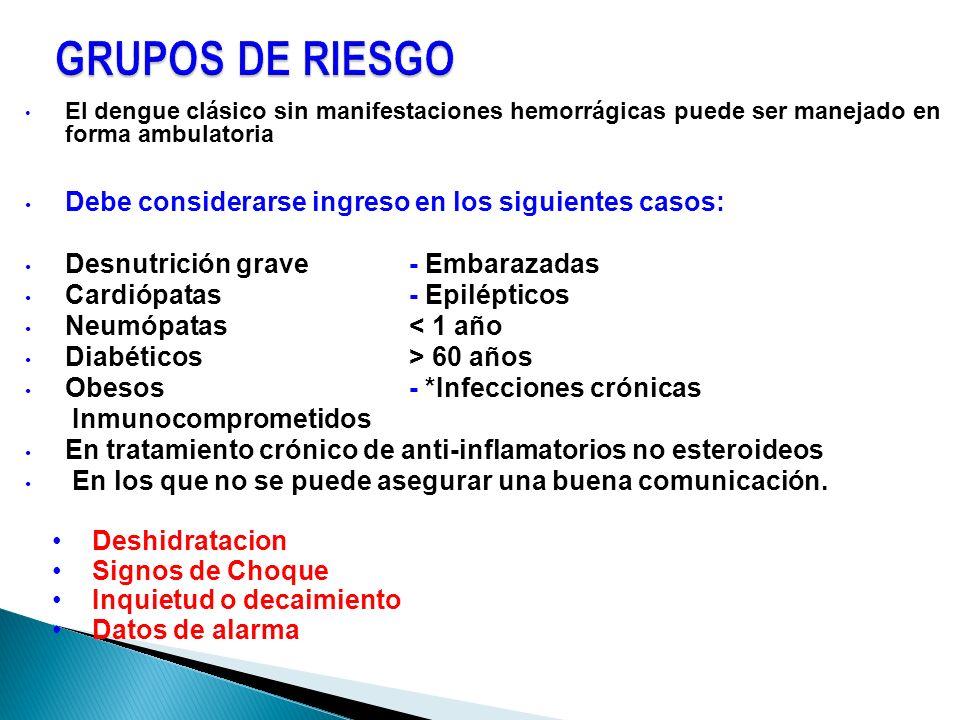 GRUPOS DE RIESGO Debe considerarse ingreso en los siguientes casos: