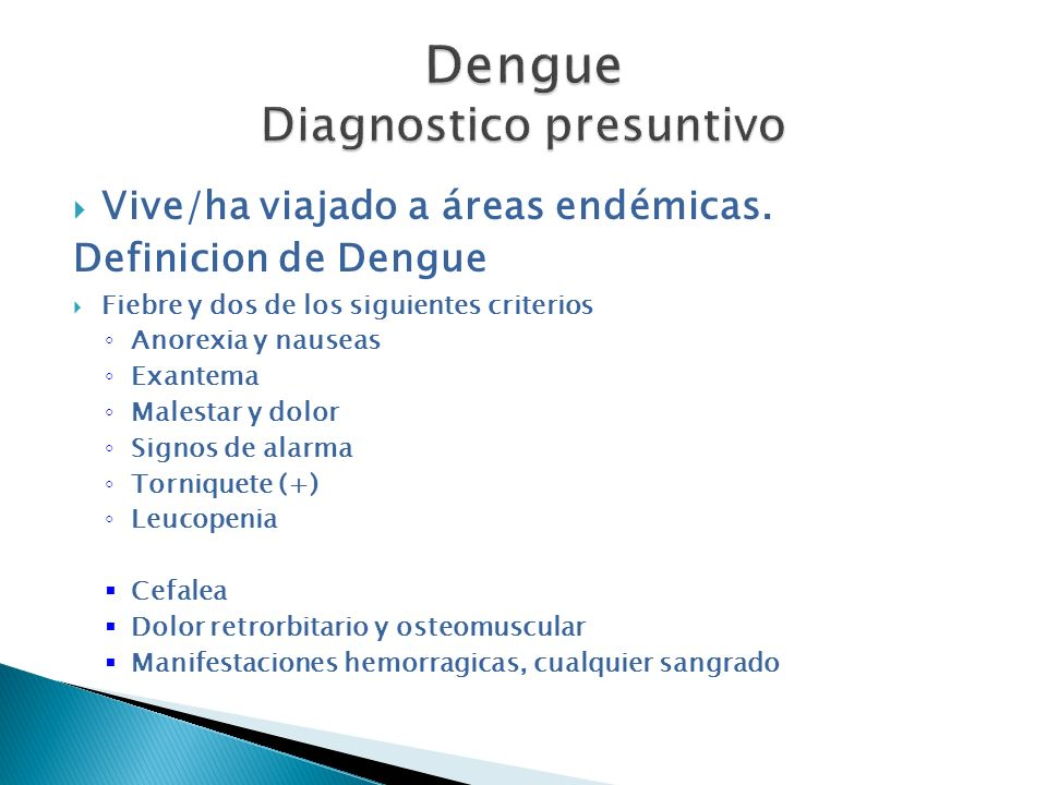 Dengue Diagnostico presuntivo
