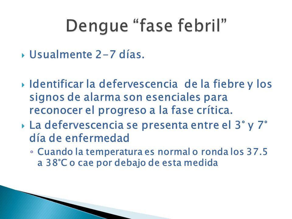 Dengue fase febril Usualmente 2-7 días.