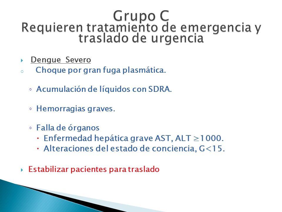 Grupo C Requieren tratamiento de emergencia y traslado de urgencia