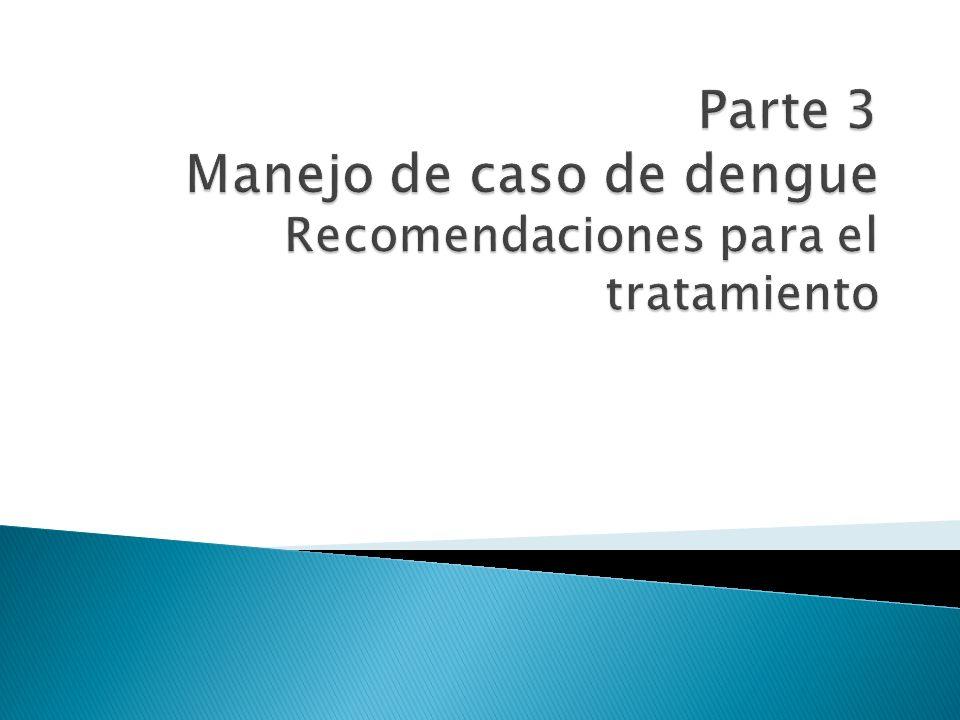 Parte 3 Manejo de caso de dengue Recomendaciones para el tratamiento