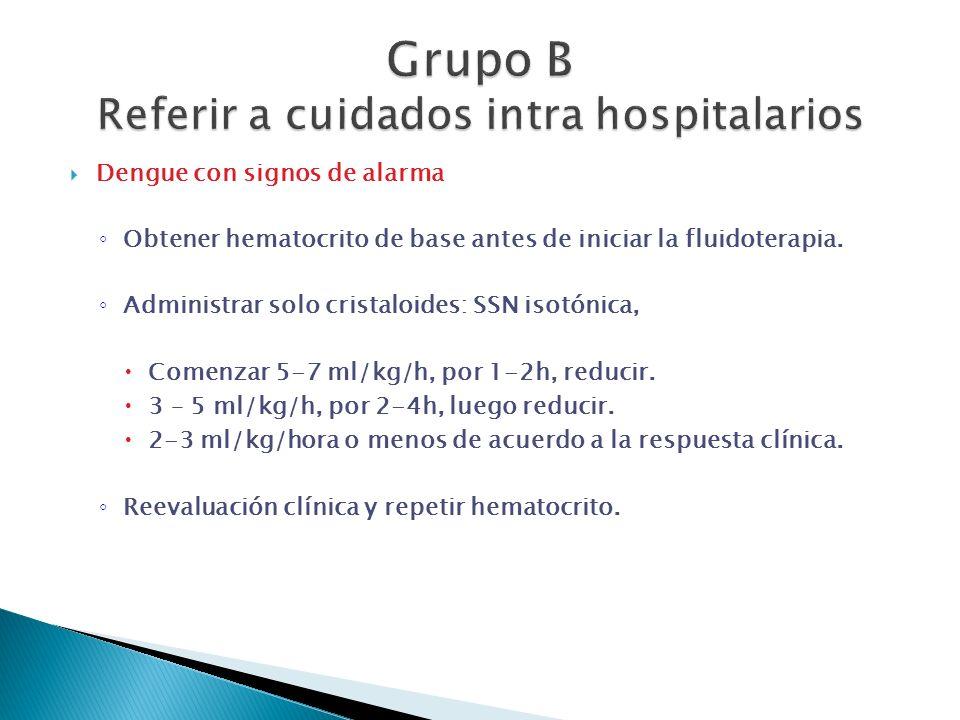 Grupo B Referir a cuidados intra hospitalarios