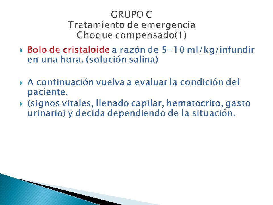 GRUPO C Tratamiento de emergencia Choque compensado(1)