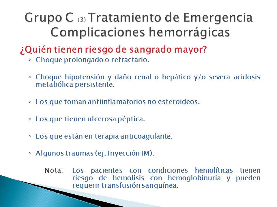 Grupo C (3) Tratamiento de Emergencia Complicaciones hemorrágicas