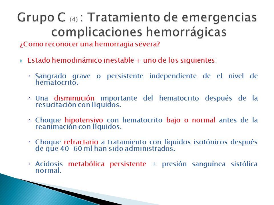 Grupo C (4) : Tratamiento de emergencias complicaciones hemorrágicas