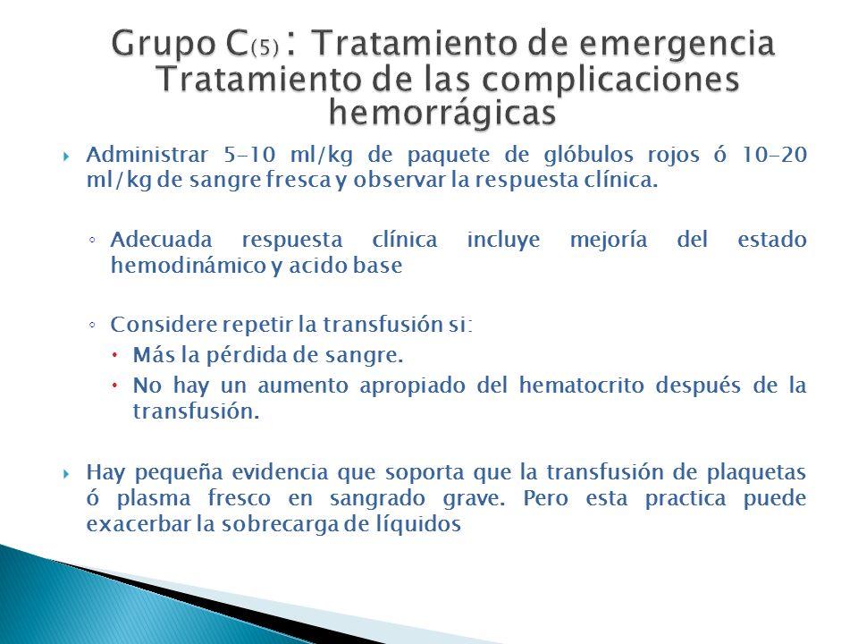 Grupo C(5) : Tratamiento de emergencia Tratamiento de las complicaciones hemorrágicas
