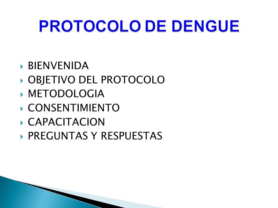 PROTOCOLO DE DENGUE BIENVENIDA OBJETIVO DEL PROTOCOLO METODOLOGIA