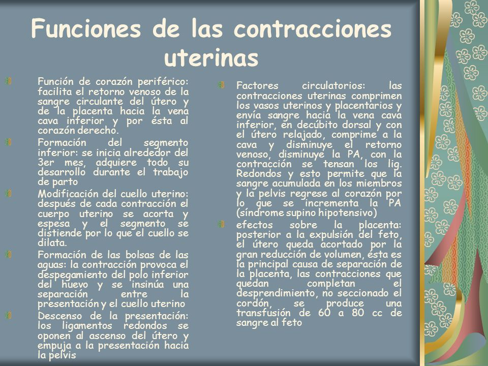 Funciones de las contracciones uterinas
