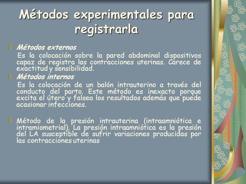 Métodos experimentales para registrarla