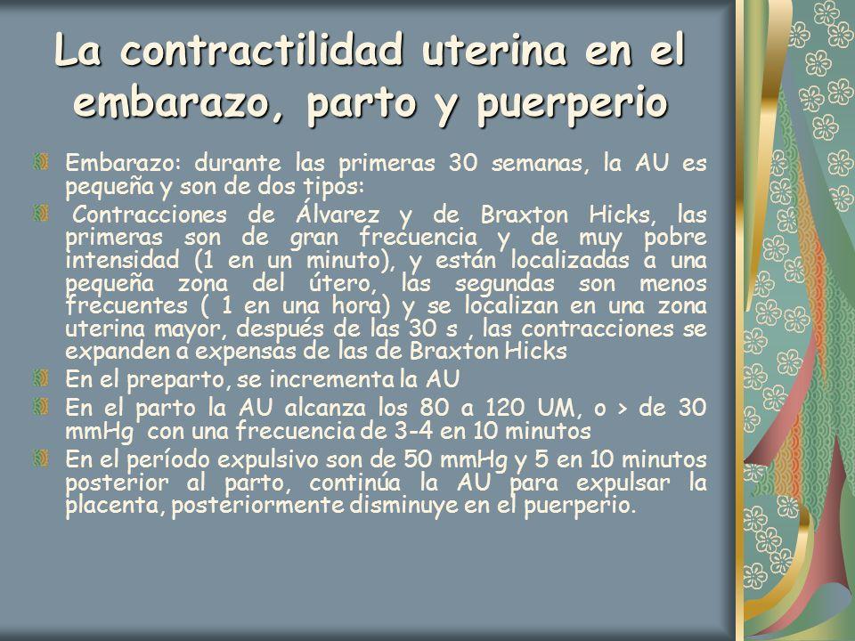 La contractilidad uterina en el embarazo, parto y puerperio