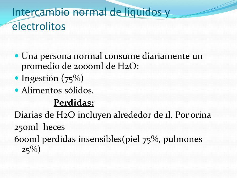 Intercambio normal de liquidos y electrolitos