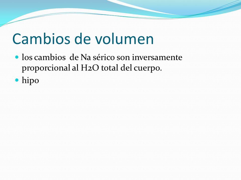 Cambios de volumen los cambios de Na sérico son inversamente proporcional al H2O total del cuerpo.