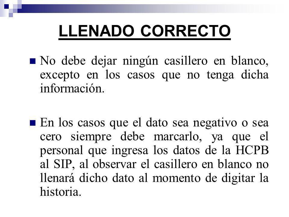 LLENADO CORRECTONo debe dejar ningún casillero en blanco, excepto en los casos que no tenga dicha información.