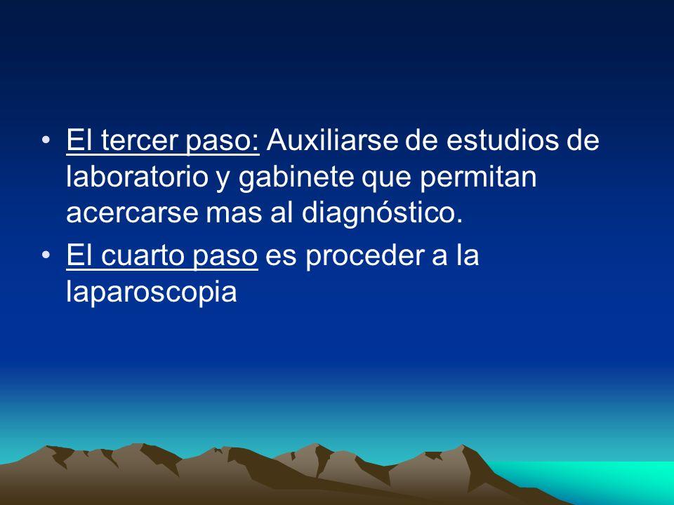 El tercer paso: Auxiliarse de estudios de laboratorio y gabinete que permitan acercarse mas al diagnóstico.