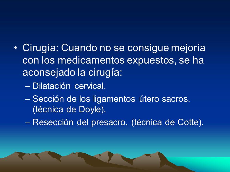 Cirugía: Cuando no se consigue mejoría con los medicamentos expuestos, se ha aconsejado la cirugía: