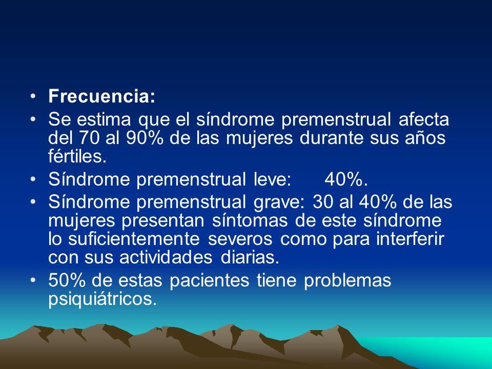 Frecuencia:Se estima que el síndrome premenstrual afecta del 70 al 90% de las mujeres durante sus años fértiles.