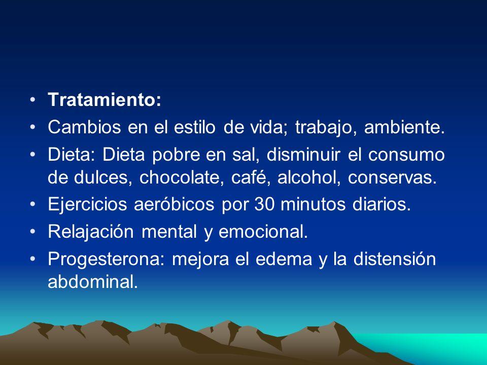 Tratamiento:Cambios en el estilo de vida; trabajo, ambiente.