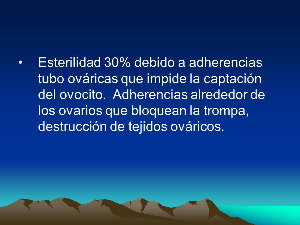 Esterilidad 30% debido a adherencias tubo ováricas que impide la captación del ovocito.