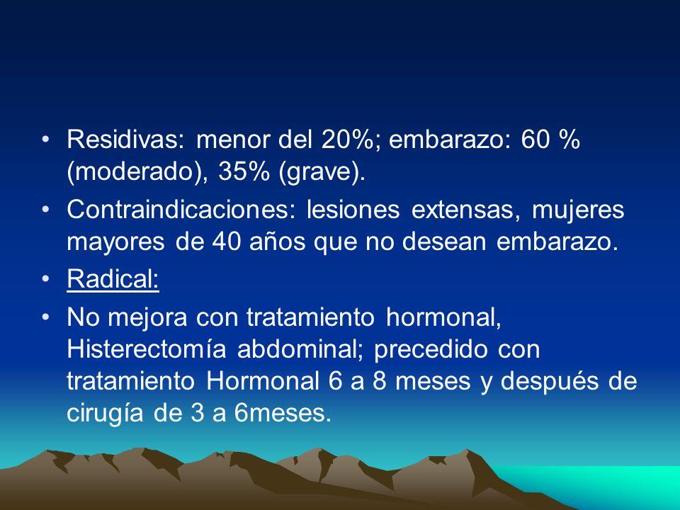 Residivas: menor del 20%; embarazo: 60 % (moderado), 35% (grave).