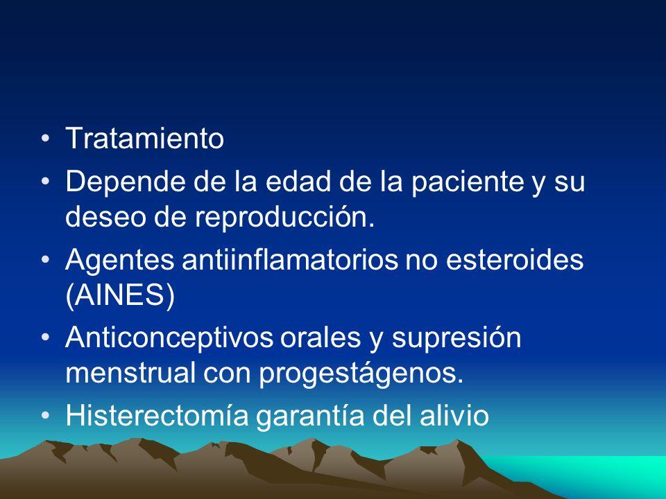 TratamientoDepende de la edad de la paciente y su deseo de reproducción. Agentes antiinflamatorios no esteroides (AINES)