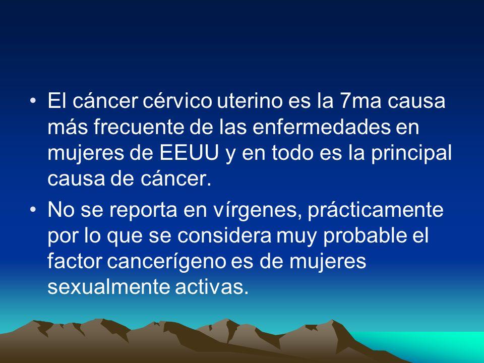 El cáncer cérvico uterino es la 7ma causa más frecuente de las enfermedades en mujeres de EEUU y en todo es la principal causa de cáncer.