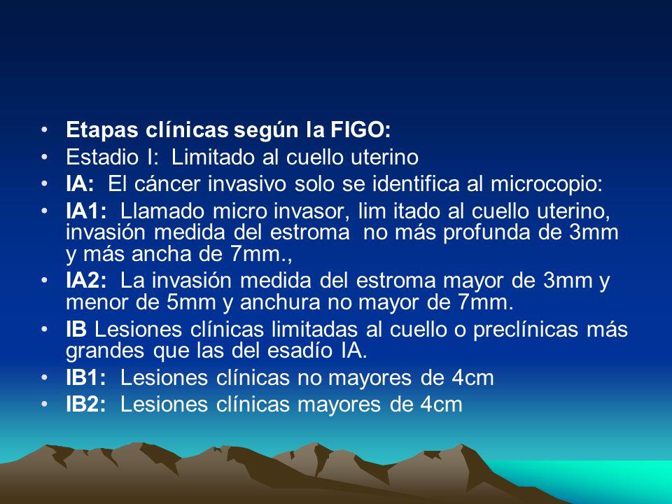 Etapas clínicas según la FIGO: