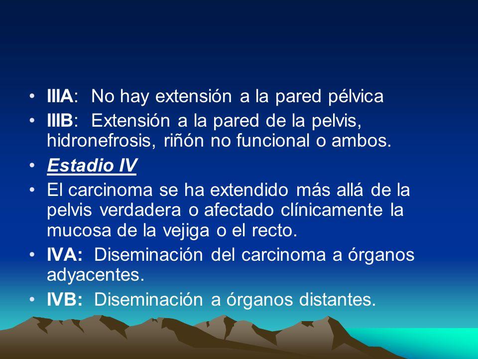 IIIA: No hay extensión a la pared pélvica