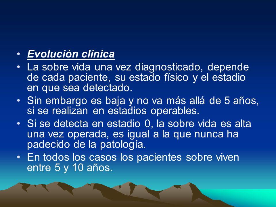 Evolución clínicaLa sobre vida una vez diagnosticado, depende de cada paciente, su estado físico y el estadio en que sea detectado.