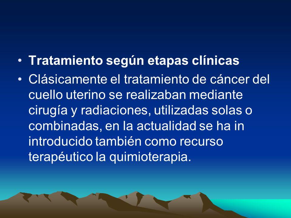 Tratamiento según etapas clínicas