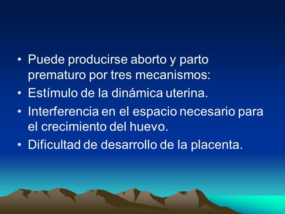 Puede producirse aborto y parto prematuro por tres mecanismos: