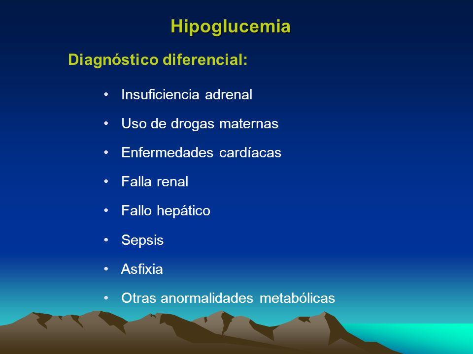 Hipoglucemia Diagnóstico diferencial: Insuficiencia adrenal