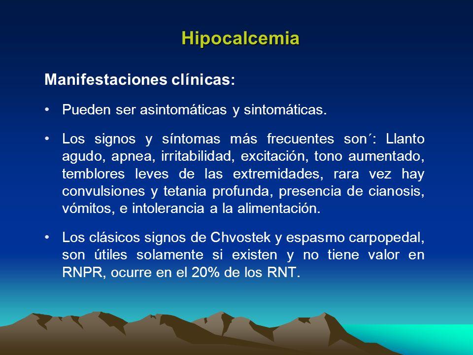 Hipocalcemia Manifestaciones clínicas: