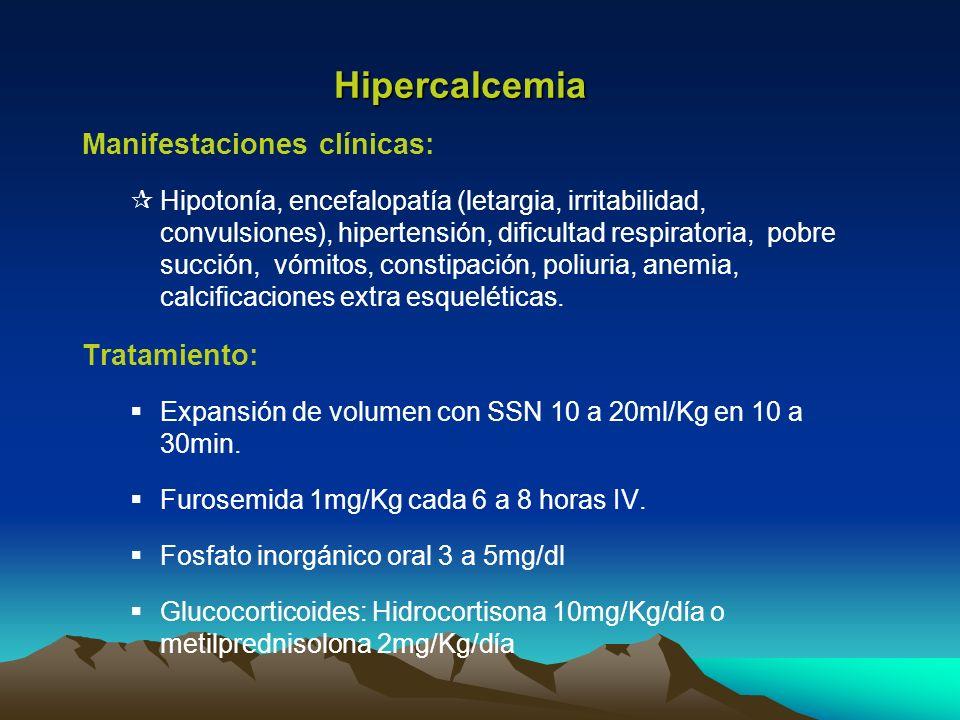 Hipercalcemia Manifestaciones clínicas: Tratamiento: