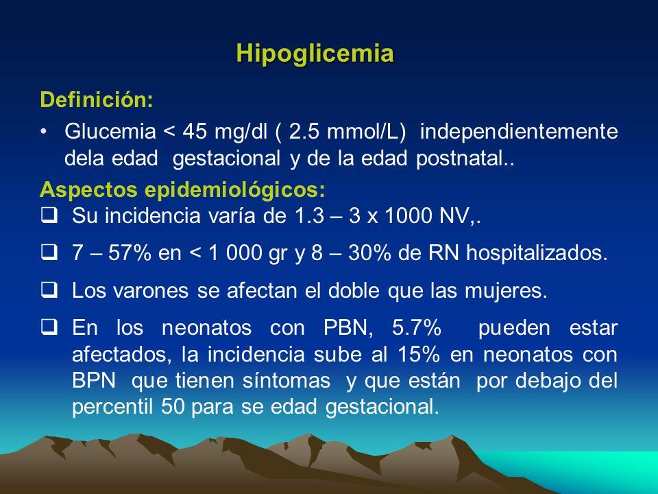 Hipoglicemia Definición: