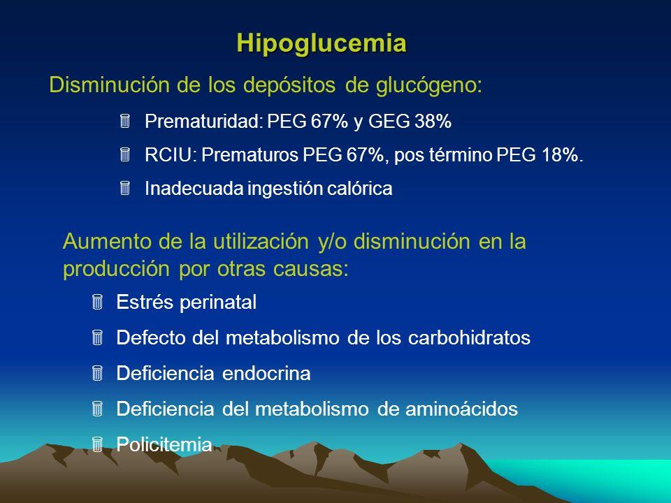 Disminución de los depósitos de glucógeno: