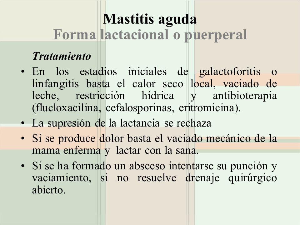 Mastitis aguda Forma lactacional o puerperal