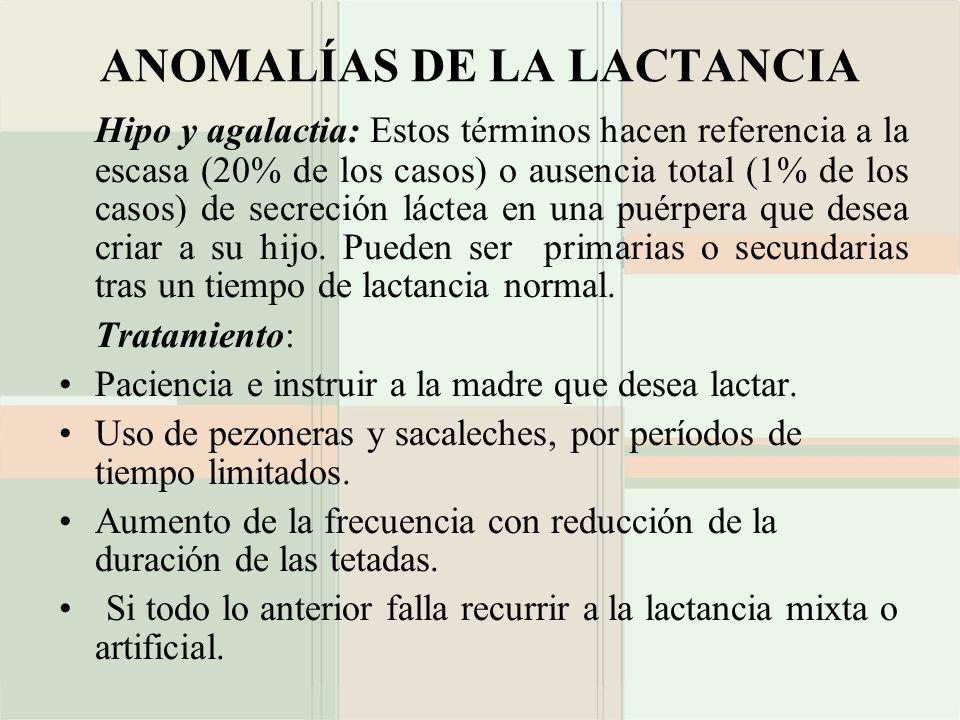 ANOMALÍAS DE LA LACTANCIA