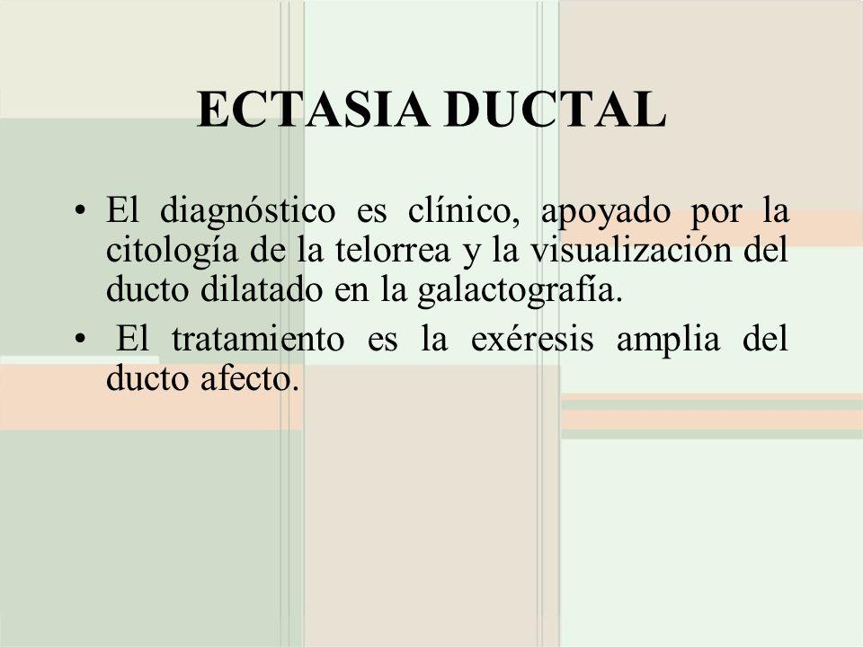 ECTASIA DUCTAL El diagnóstico es clínico, apoyado por la citología de la telorrea y la visualización del ducto dilatado en la galactografía.