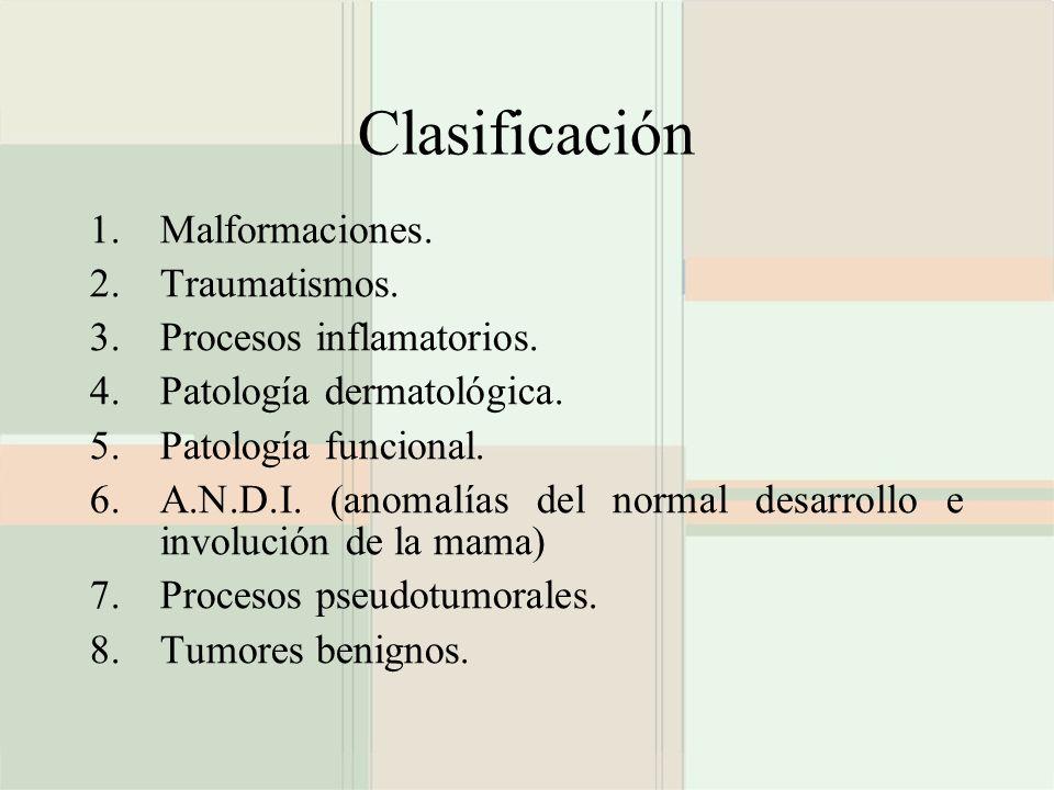 Clasificación Malformaciones. Traumatismos. Procesos inflamatorios.