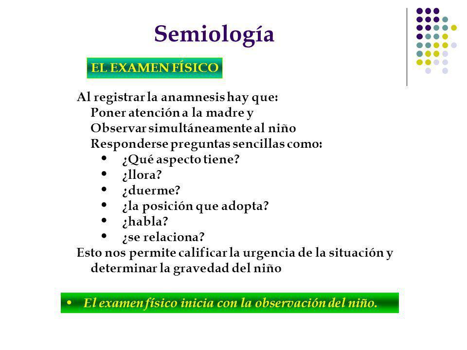 Semiología EL EXAMEN FÍSICO Al registrar la anamnesis hay que: