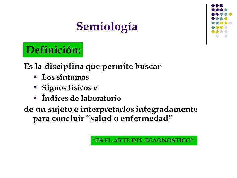 Semiología Definición: Es la disciplina que permite buscar