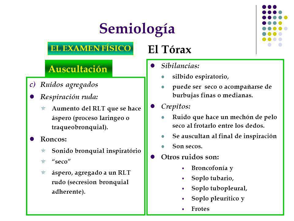 Semiología El Tórax Auscultación EL EXAMEN FÍSICO Sibilancias:
