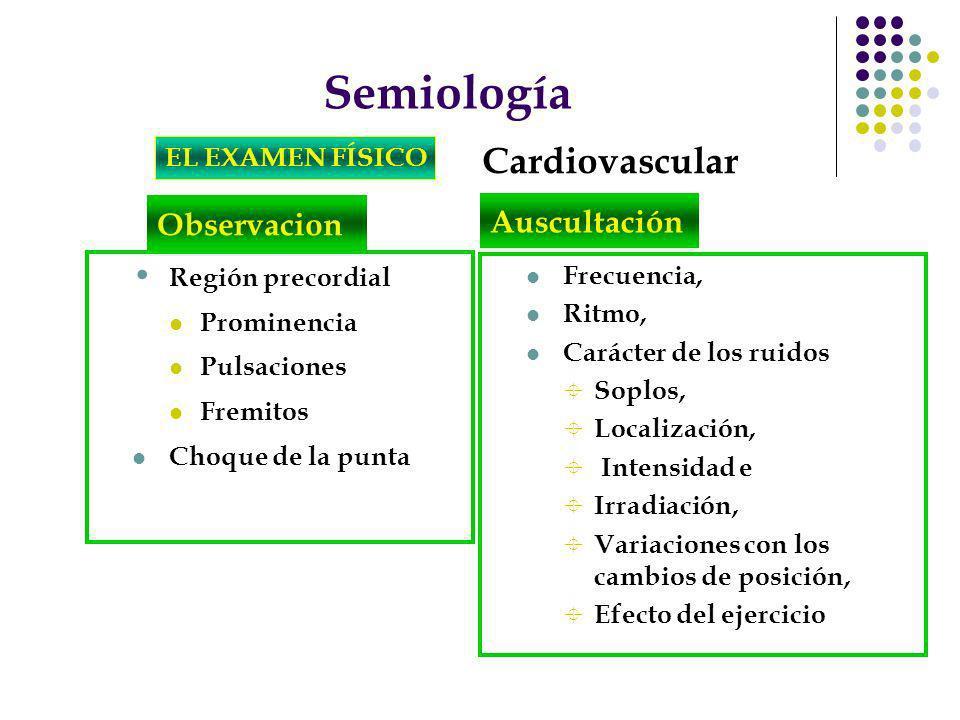 Semiología Cardiovascular Observacion Auscultación EL EXAMEN FÍSICO