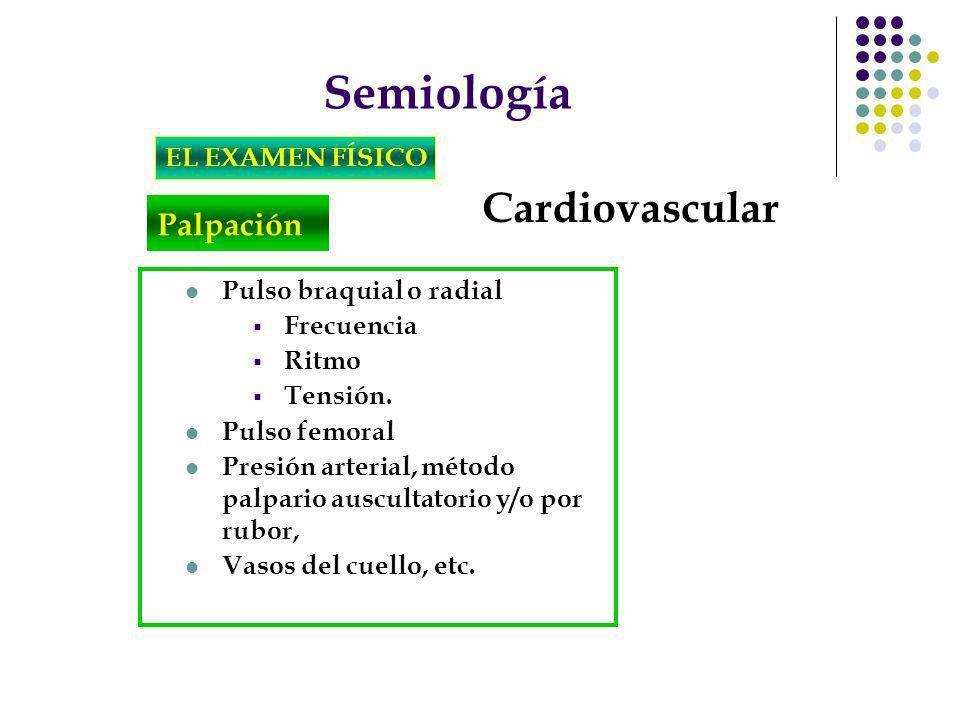 Semiología Cardiovascular Palpación EL EXAMEN FÍSICO
