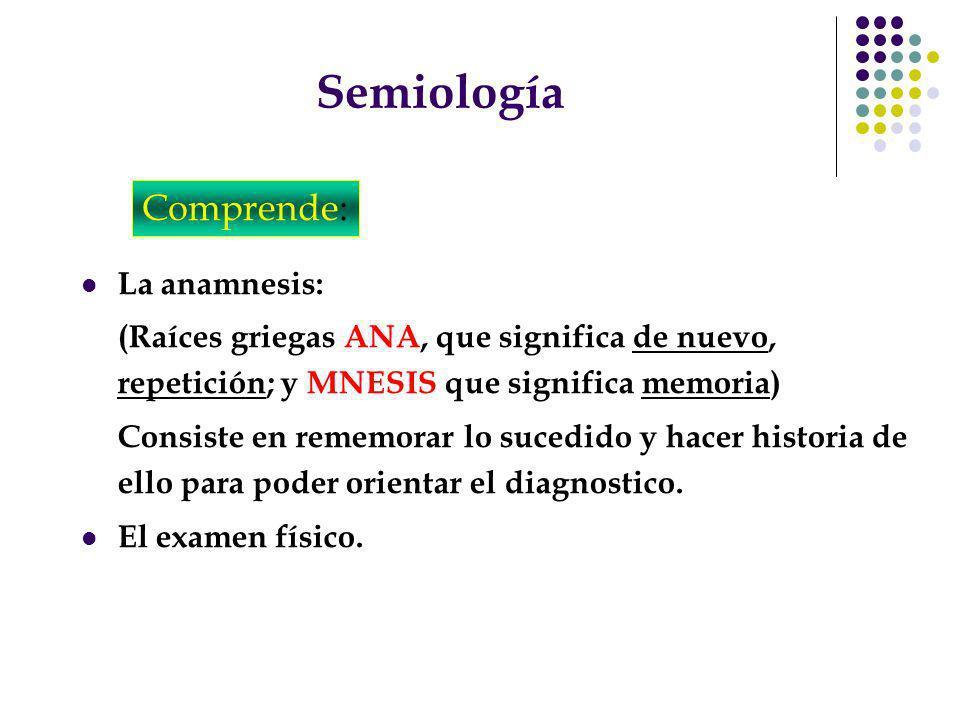Semiología Comprende: La anamnesis: