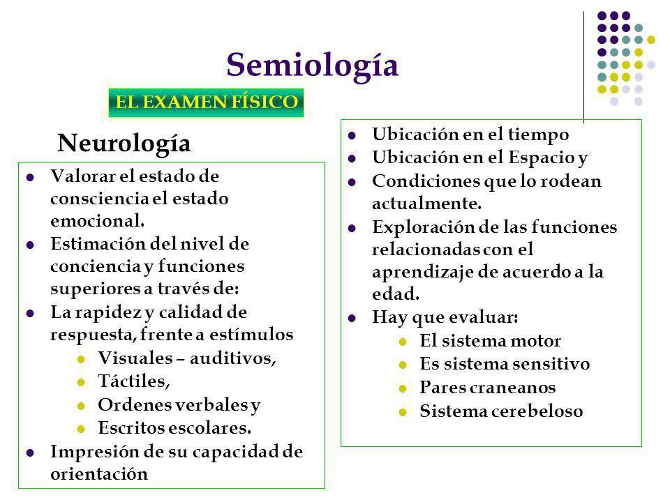 Semiología Neurología EL EXAMEN FÍSICO Ubicación en el tiempo